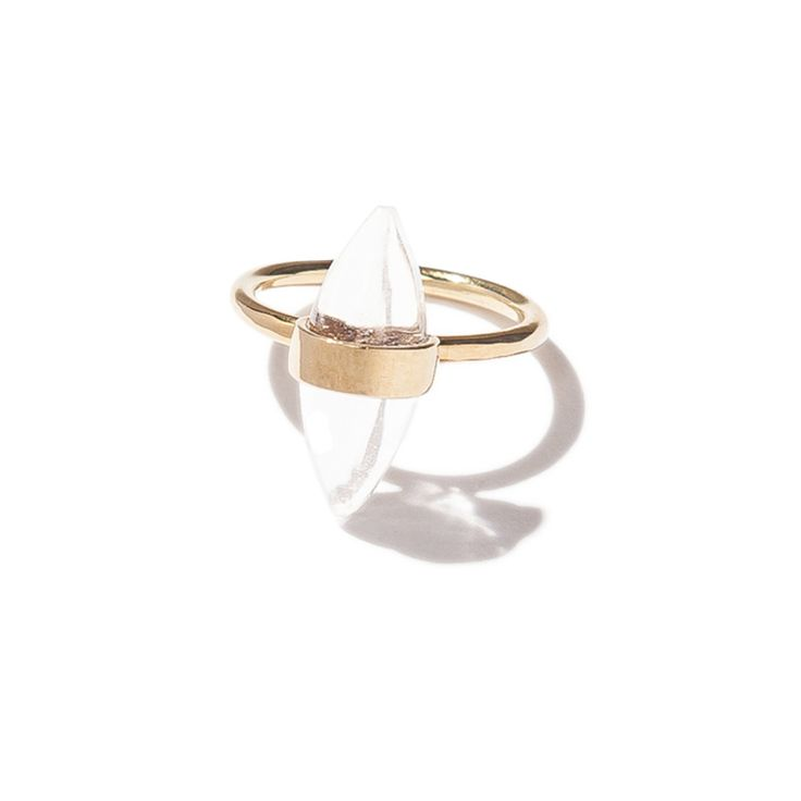 Mini Glory ring - brass | $69. Fine ring crafted in brass with rounded edge double-pointed clear quartz crystal stone detail. Shop now: http://www.savethelastpinker.com.au/shop/mini-glory-ring-brass/