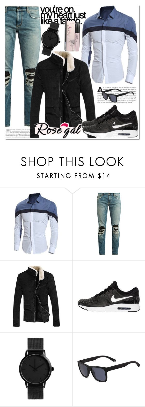 """""""ROSEGAL 33"""" by miralemaa ❤ liked on Polyvore featuring Yves Saint Laurent, NIKE, Lacoste, men's fashion, menswear, outfit and rosegal"""