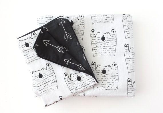 Cot Duvet Cover Set in Black Bear  Reversible by AlphabetMonkey