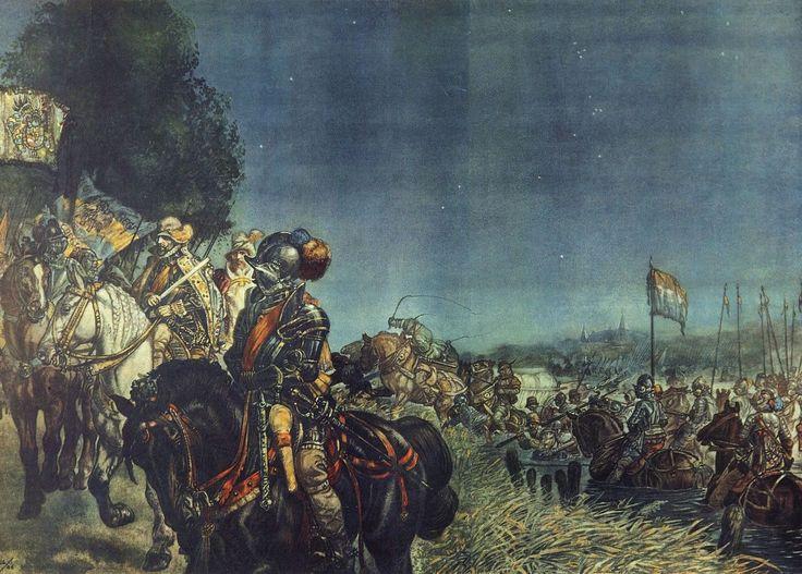 De Prins trekt over de #Maas, 1568 | #Schoolplaat #Isings