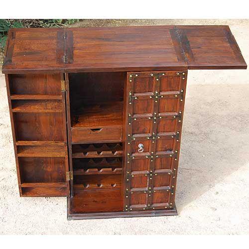 Solid Wood Home Bar Wine Rack Liquor Storage Cabinet