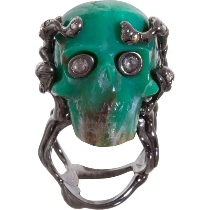 Lucifer Vir Honestus Chrysoprase & Diamond Skull Ring