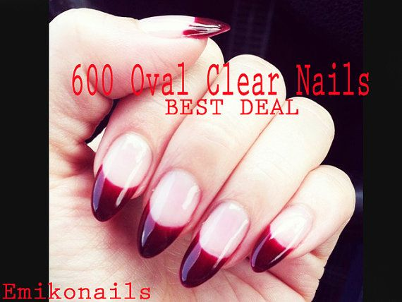 SALE BEST DEAL600 Blank Clear oval NailsOval by emikonails on Etsy
