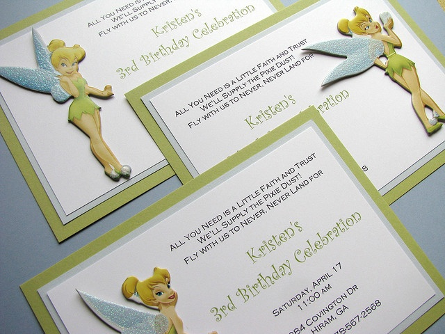 25 best ideas about Tinkerbell invitations – Neverland Party Invitations