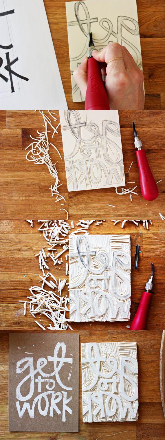Tutoría de sello tallado - Carved rubber stamp tutorial