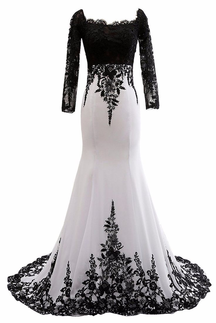 Long sleeve black and white evening gowns like this can be made to order with any design changes, in any color and for all sizes.  We make custom evening dresses and also #replicas of designer gowns too that are affordable for our clients. Contact us for pricing at www.dariuscordell.com/