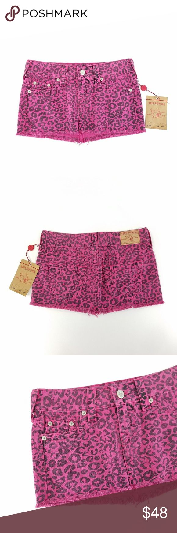 """NWT True Religion Pink Mandy Cheetah Skirt Women's True Religion Mandy Cheetah Skirt 100% Cotton Size 26 New With tags  Measurements Laying Flat: Waist: 14.5"""" Length: 10"""" True Religion Skirts Mini"""