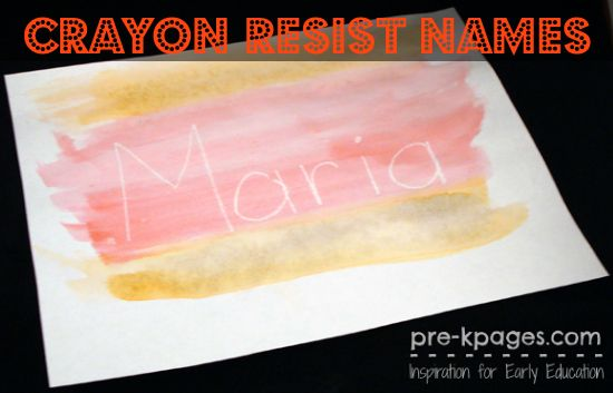 Crayon Resist Watercolor Names