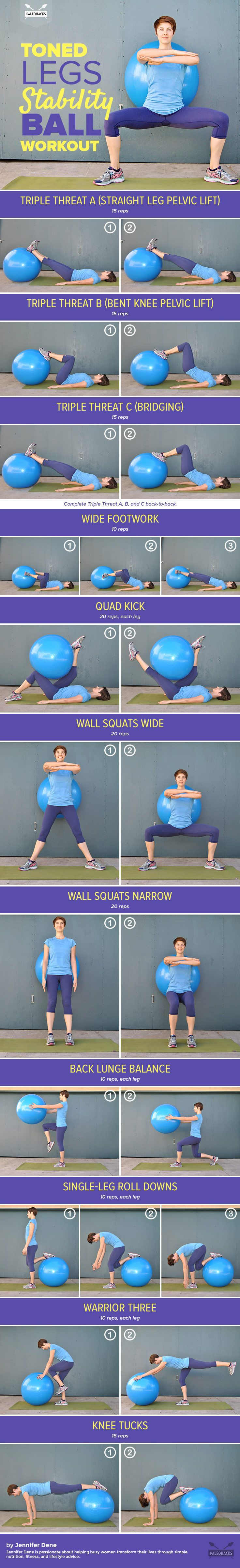 Looking for a challenging workout that will tone your legs and strengthen your core, but is also gentle on your joints? This leg-toning stability ball workout has got you covered. For the full workout, visit us here: http://paleo.co/tonedlegsworkout