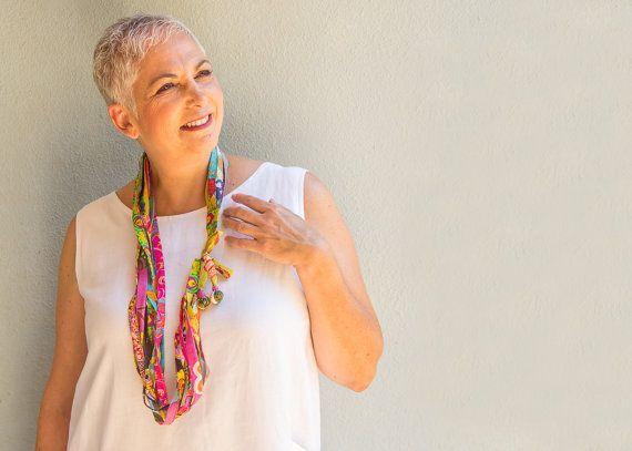 Multicolor textile necklace - long rainbow color fabric necklace - gift idea