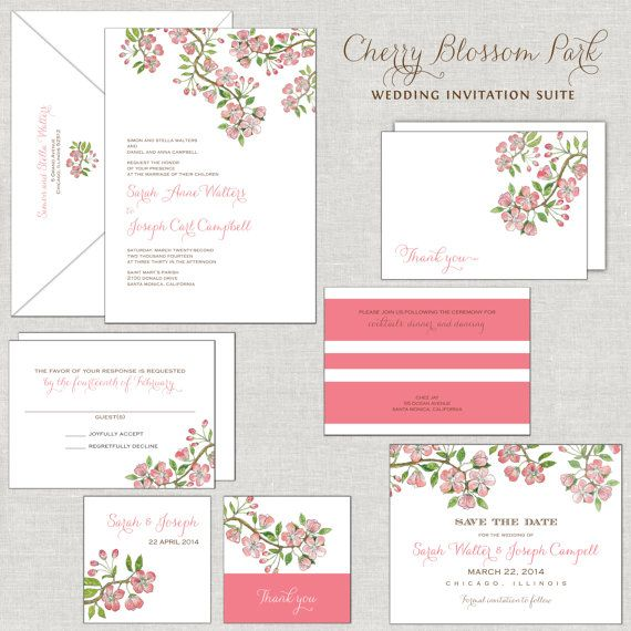Cherry Blossom Wedding Invitations Watercolor Coral Pink Tree Branches Flowers Blooms