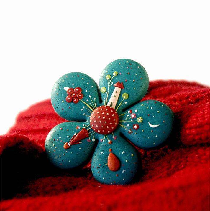 polymer clay brooch.....totally beautiful!