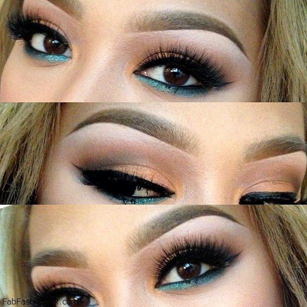 Beautiful smokey eyes makeup look with turquoise eyeliner