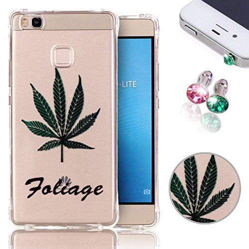 Buy TPU Case for Huawei P9 Lite Case + 2pcs Crystal Anti Dust Plug, Pershoo Transparent Ultra thin Soft TPU Skin Non Slip Anti Scratch Silicone Protective Back Cover for Huawei P9 Lite - Green Leaves NEW for 2.89 USD | Reusell