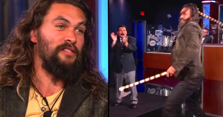 Watching Khal Drogo throw axes with Jimmy Kimmel will make you hot and sweaty.