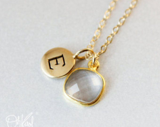 Gold Crystal Quartz Necklace - Bridesmaids Necklaces - Gifts from 20