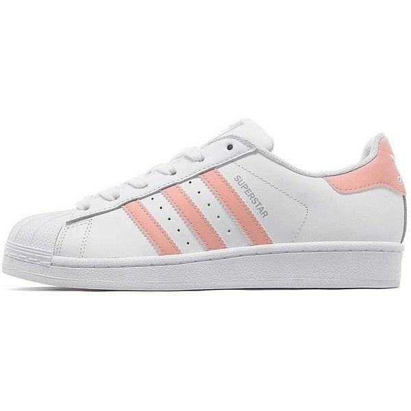 adidas Originals Superstar Women's (£67) ❤ liked on Polyvore featuring shoes, sneakers, adidas, chaussure, adidas originals, stripe shoes, pink shoes, striped shoes and chunky shoes