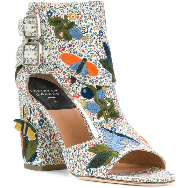 Laurence Dacade embroidered high hell sandals (€845) ❤ liked on Polyvore featuring shoes, sandals, floral sandals, block heel shoes, open toe leather sandals, leather sandals and open toe shoes