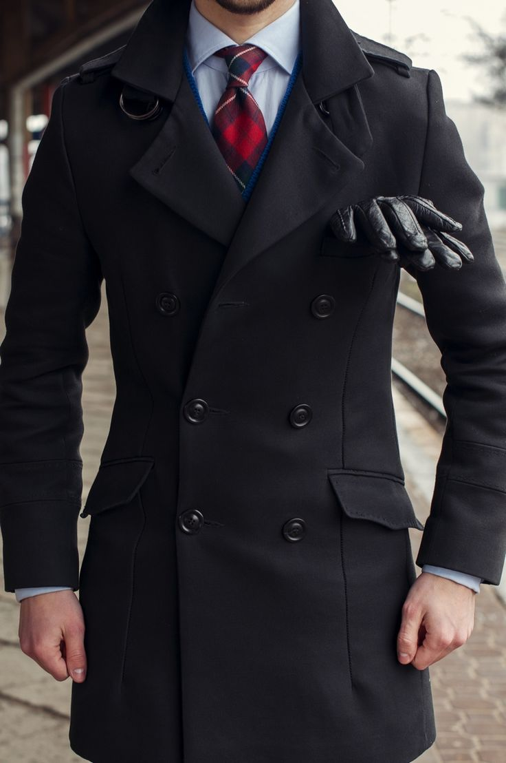 Mens leather kid gloves - Men Style Peacoat Gloves Black Secondhand Dandy Trashness