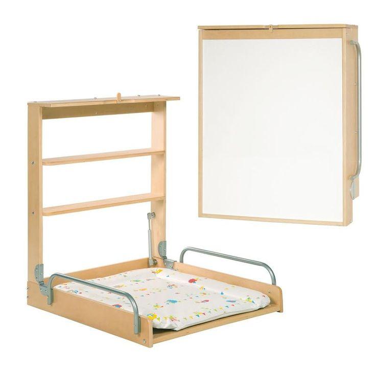 Vertikaler Formholz Wickeltisch für Wandmontage inkl