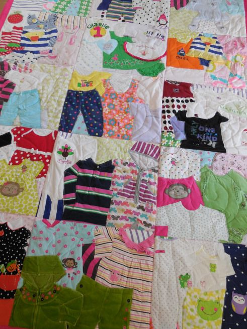Quilt from your child's old clothing. I have so many outfits that I just can't get rid of, this is perfect