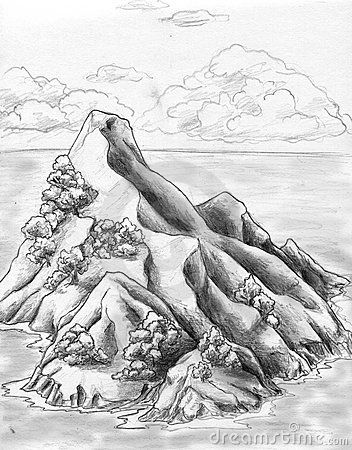 Lonely uninhabited island (possibly - tresure island) in the sea. Pencil drawing, sketch