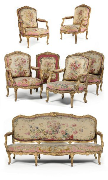 grand mobilier de salon epoque louis xv attribu e. Black Bedroom Furniture Sets. Home Design Ideas