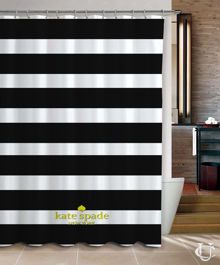 Kate Spade Logo Gold Black Stripe Shower Curtain cheap and best quality. *100% money back guarantee