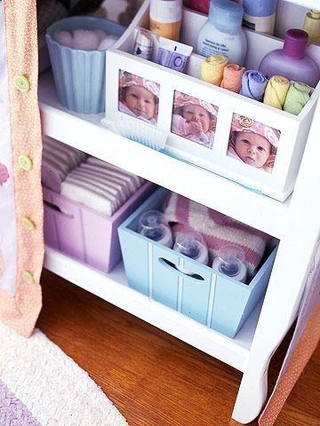 Supplies That Mean Business - Repurpose office storage pieces for kids' room supplies. Here, a tiered desktop caddy holds washcloths, lotions, soaps, and other nursery essentials. | poshhome.info
