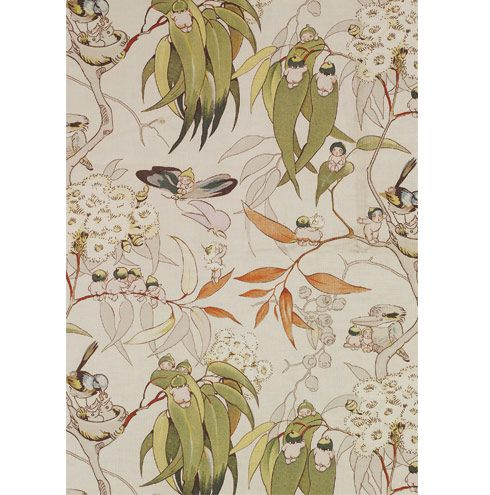 Gumnut Babies, furnishing fabric, Cecilia May Gibbs, Lockett & Crossland, UK, 1926
