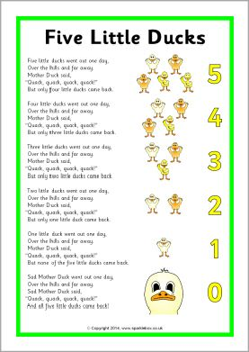 Five Little Ducks song sheet (SB10843) - SparkleBox