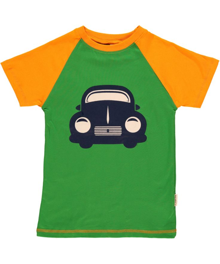 Bright and cheerful little short-sleeved top in organic cotton from Sweden's Maxomorra. The retro car looks a little like those American 1930s gangster cars.  Free postage over £30 or visit us in sunny Lyme Regis.