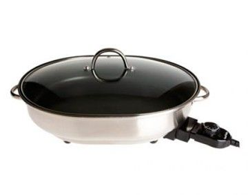 Features/Specifications Product code: RHFP04 Stylish stainless steel oval frying pan Premium non-stick coating for easy cleaning Versatile: roast, grill, bake, simmer or stir-fry Power indicator light Glass lid with steam vent Non-slip feet for safety and stability 1500W For domestic use only