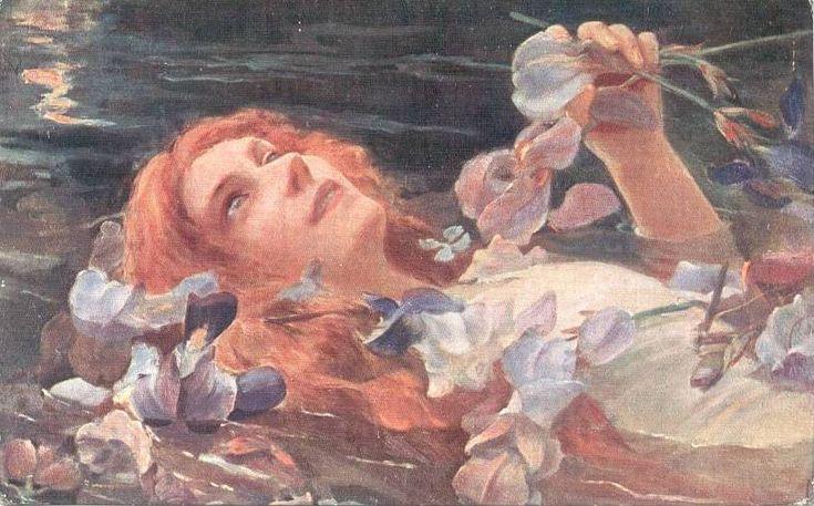 Gaston Bussière - Ophélie in Water