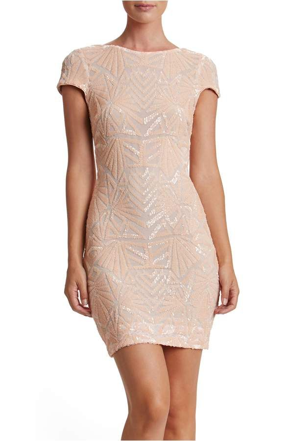 Dress The Population Tabitha Sequin Mesh Minidress - Nude from Nordstrom Nude Cocktail Dress