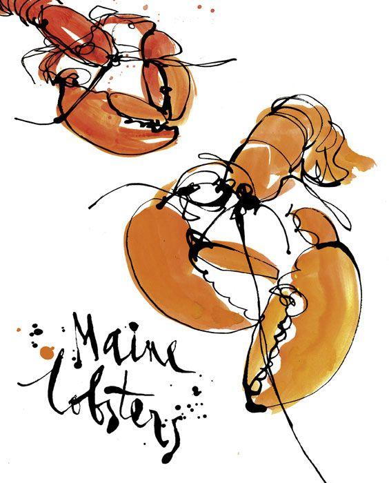 De petits homards signés Stina Persson. Astuce: Utilisez la technique du Zendoodle pour tracer le contour noir de vos homards.