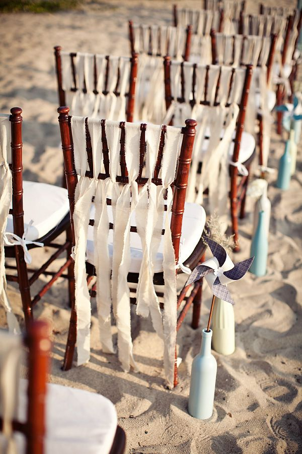Love this ripped ribbon detailing for ceremony chair backs! elfoto.org http://su.pr/1RRhis