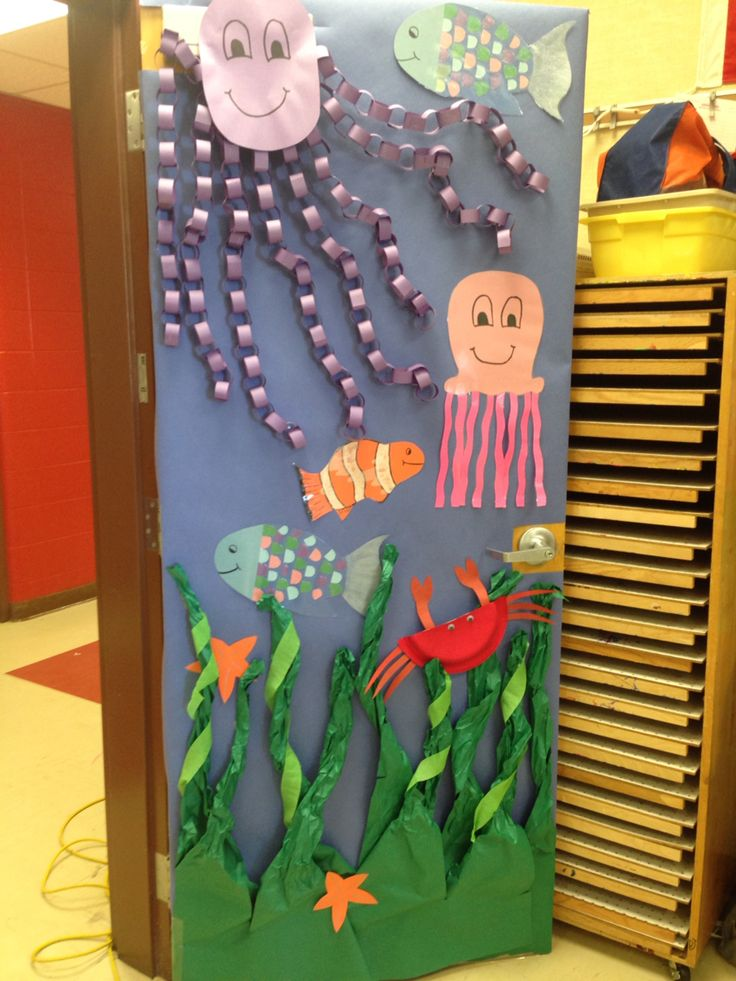 Under the sea classroom door life as an ea pinterest for Art room door decoration