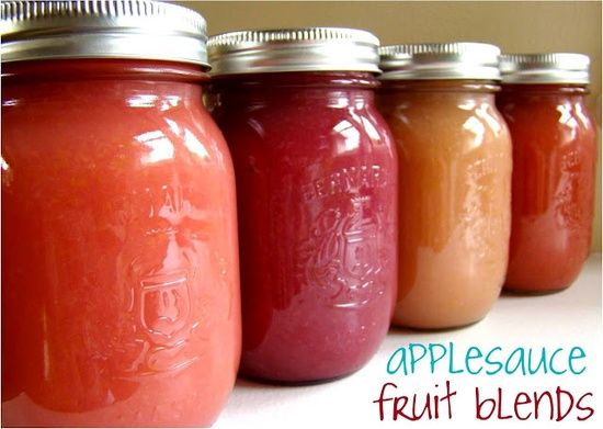 Applesauce Fruit Blends - Blueberry, Strawberry and Peach Applesauce recipes - no added sugars.