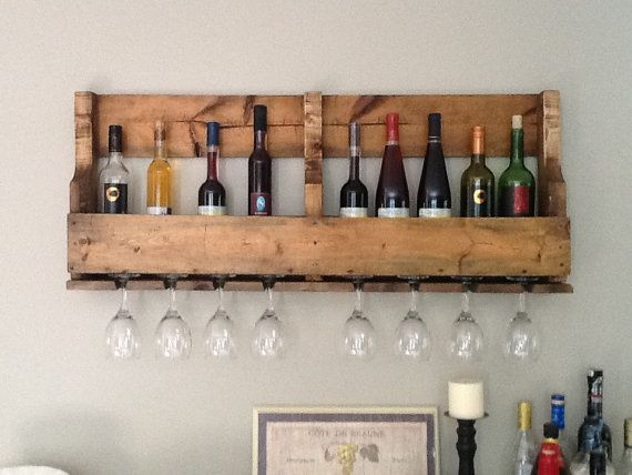 recycled pallet wall hanging wine rack by