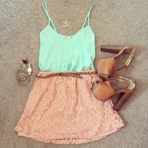 Minty teal, rosy pink, and brown suede