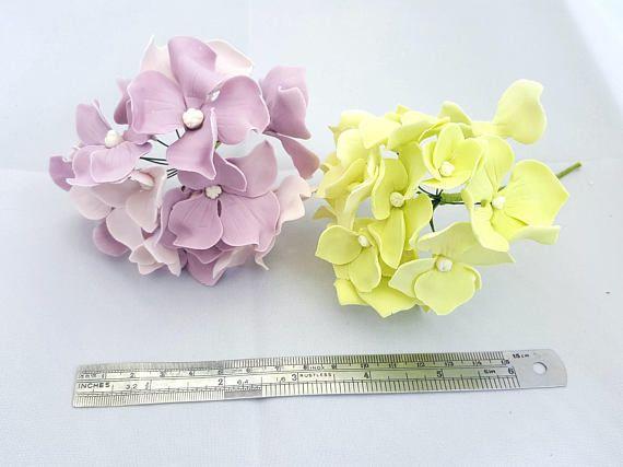 Realistic Hydrangea Sugar Flower Cake Toppers