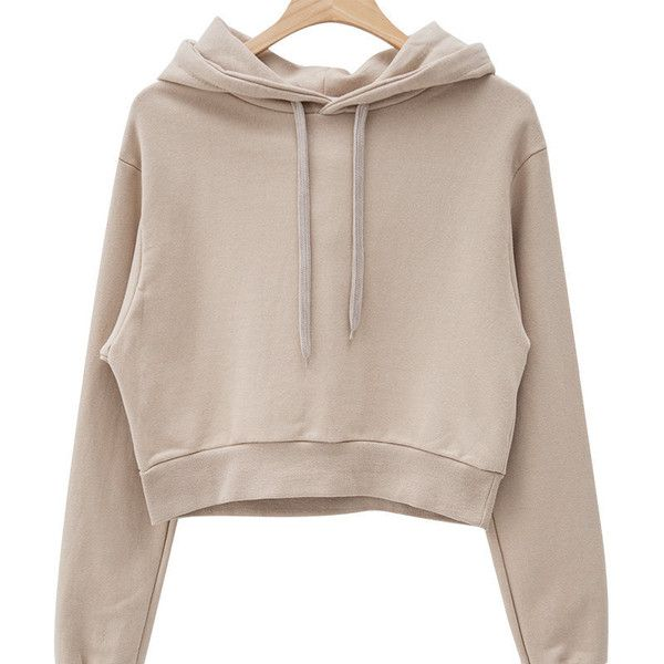Hooded Cropped Cotton Pullover (51 NZD) ❤ liked on Polyvore featuring tops, hoodies, sweaters, hooded pullover, hooded top, sweater pullover, beige top and cotton pullover
