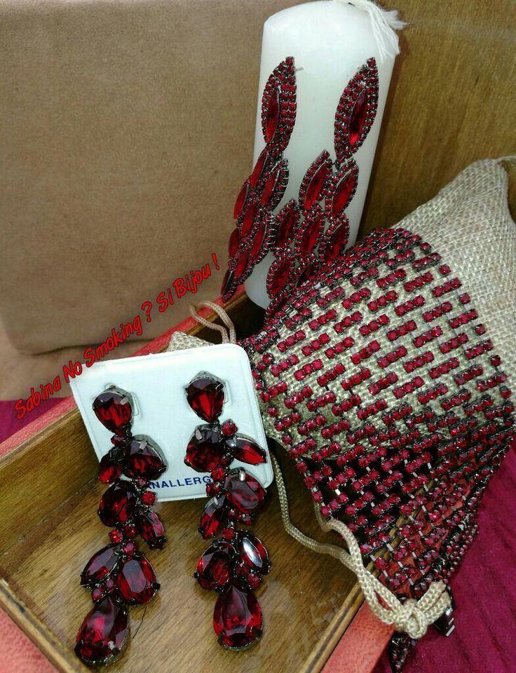 Collane orecchini rosso strass  Vetrina #sabinanosmokingsibijou