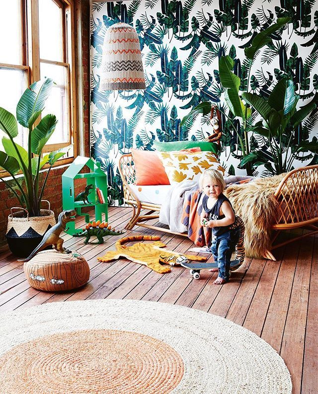Hey there cheeky monkey! This jungle-inspired kids' room is fit for a wild child. How great is the banana palms wallpaper from @sparkkstudio? See the rest of the details for this adventurous room via the link in our bio.⠀ ⠀ Styling - @juliagreenstylist⠀ Photography - @armellehabib