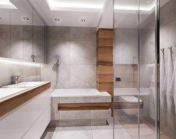 łazienka z nuta szarosci i drewna. - Średnia łazienka w bloku bez okna, styl nowoczesny - zdjęcie od All Design Agnieszka Lorenc