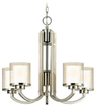Modern Chandelier with Clear Seedy and White Glass Shades - 2950-09 modern-chandeliers