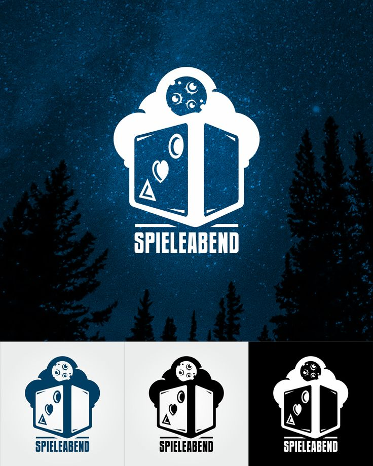 Spieleabend (playing at night)  Logo design for the blog of board games. Logo alludes to play together people from different groups (different shapes on dice). In addition, there appears theme of the night.