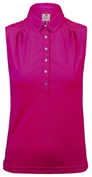 Love Golf Shirts? Here's our  Raspberry Daily Sports Ladies Majken Sleeveless Golf Polo Shirt! Find plenty of Golf Outfits here at #lorisgolfshoppe