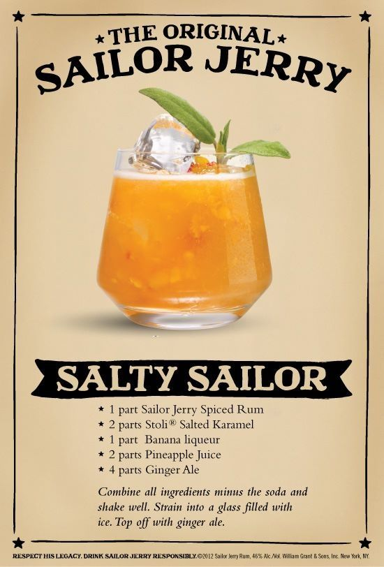 Stoli Salted Caramel & Sailor Jerry cocktail. Would leave out the banana but otherwise sounds good